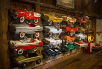 Some of the kiddie cars on display