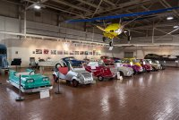 Some of the microcars in the museum. Far left is actually a bumper car.