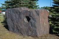 A giant chunk of taconite in the middle of Hoyt Lakes
