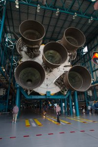 The mighty Saturn V, with Chris and Taras in front for scale