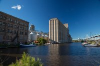 Some of the grain elevators along the port
