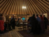 Inside the yurt, with gaslight