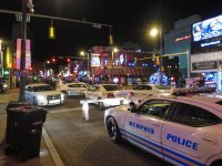 Beale Street is a walking mall at night, with extensive support from Memphis' finest