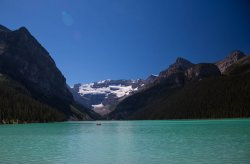 Lake Louise and boater