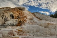Mammoth Hot Springs at sunset