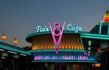 Flo's Diner, lit up for the evening