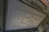 The hand carved, hand molded plaster ceiling