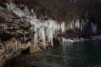 Giant icicles over the Little River
