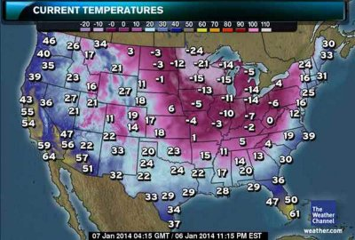 Incoming polar vortex. Not quite as nice looking as those maps from Florida...