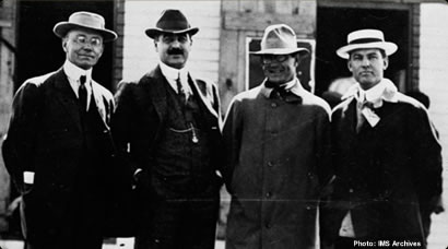 Founders of the Indianapolis Motor Speedway. L to R, Arthur Newby, Frank Wheeler, Carl Fisher, James Allison